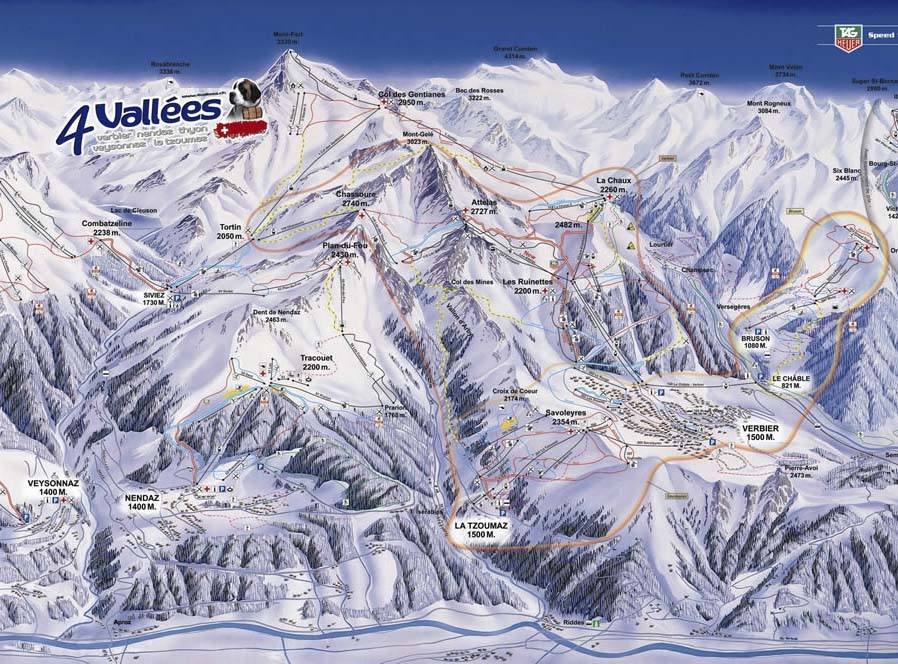 Four Valleys pistes map, La Tzoumaz, Verbier